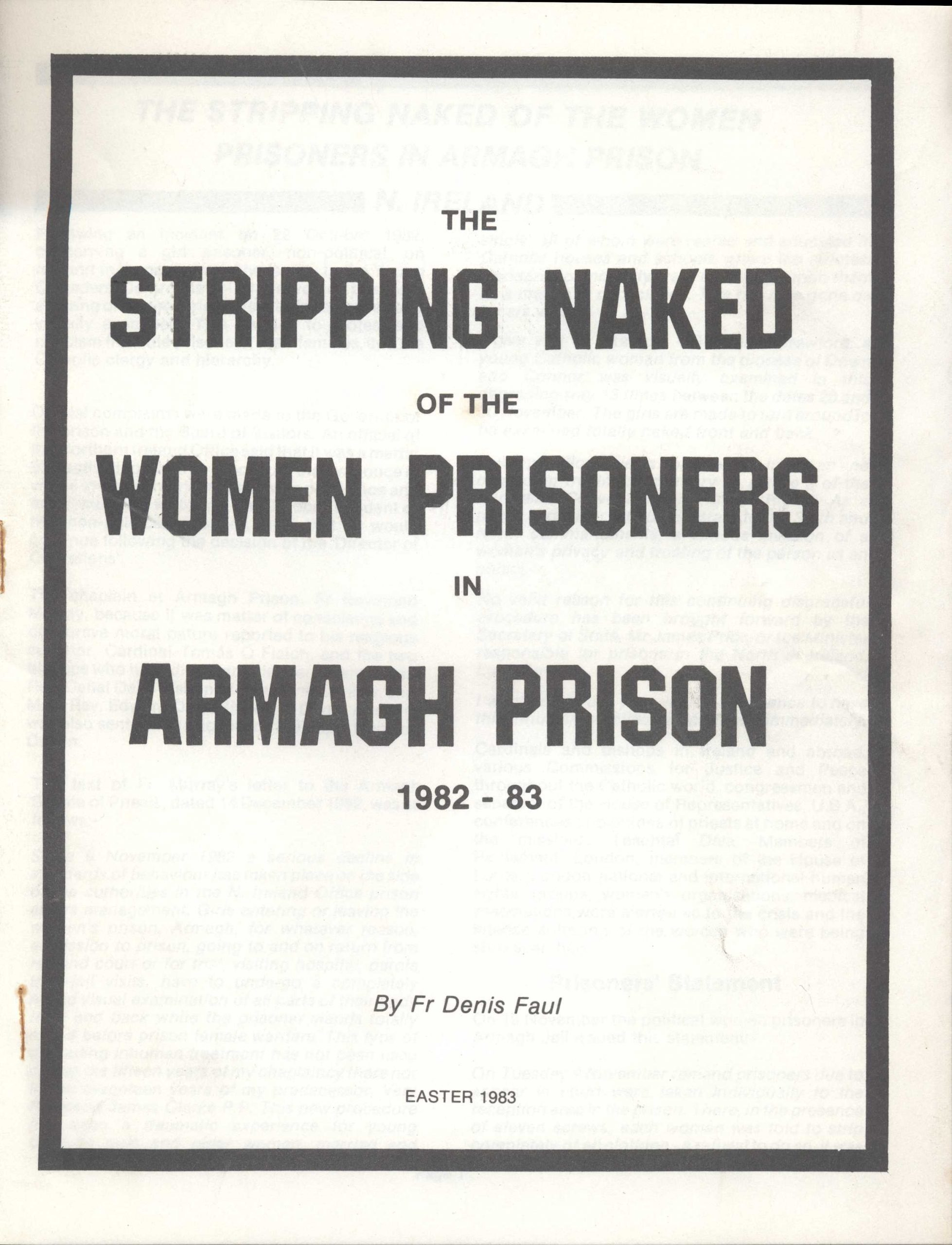 the stripping naked of the women prisoners in armagh prison